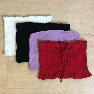 AE strapless crop top tube top - 4 shirts